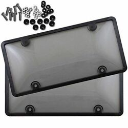2x UNBREAKABLE Tinted Smoked License Plate Tag Shield Cover and Frame $10.50
