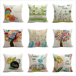 Easter Linen Cushion Cover For Sofa Bed Home Decoration Festival Pillow Case 18