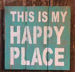 Beach Cabin Bar Pub Decor THIS IS MY HAPPY PLACE Rustic Wood Wall Art HP Sign