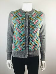 NEW CHANEL Grey Multi Colored Floral Size 34 Cashmere Wool Silk Cardigan Sweater