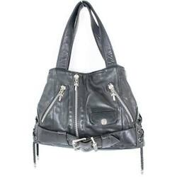 Chrome Hearts JJ DEAN LG Large Leather Rider's Hand Bag Used Black Silver