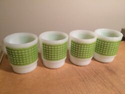 VINTAGE Set of (4)  FIRE KING Green Check COFFEE MUG Stackable