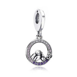 Authentic S925 Sterling Silver Mother Baby Bird Soft Pink & Lilac Crystal Charms