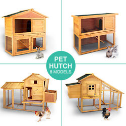 WoodenMetal Chicken Coop Rabbit Hutch Pet Hen House Cage Run Poultry Backyard