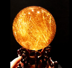 120mm Huge! Rare Natural Clear Gold Rutilated Quartz Crystal Sphere Ball Healing