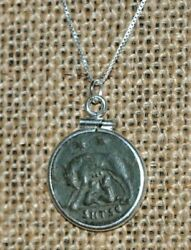 Authentic Ancient Coin Romulus & Remus She Wolf URBS Roma 925 Silver Necklace