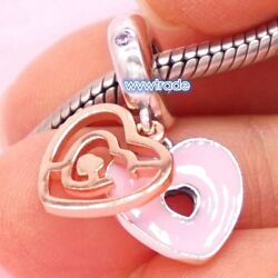 925 Sterling Silver ROSE PATH TO LOVE HANGING CHARM Bead Fit Snake bracelet 2019