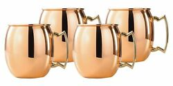 Christmas Special Gift 4 pc Set Round Plain 16 oz Brass Handle Copper Beer Mugs