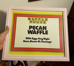 PINK FRAMED Waffle House sign Frame wo Man Cave she shed Pecan Egg Bacon Ham +