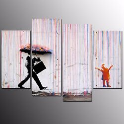 Canvas Prints Rainy Day Wall Art Canvas Oil Painting For Home Decor 4pcs $148.80