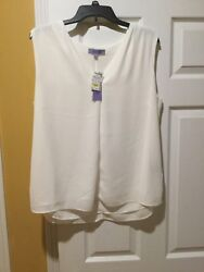 NWT WOMENS PREMISE STEIN MART SHEER V NECK TANK TOP Size xl $25.00