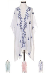 ScarvesMe Women Floral Embroidered Beach Vacation Resort Vest Cover Up Kimono $18.00