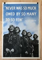 Original Vintage WWII Poster NEVER WAS SO MUCH OWED SO MANY SO FEW British RAF