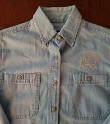 Harley Davidson Biker Denim Jean Shirt Womens Ladies Small HD Piqua OH Ohio $27.99