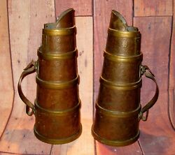 A Pair of Antique Copper and Brass Ale  Beer Pitchers Pub Jugs 15