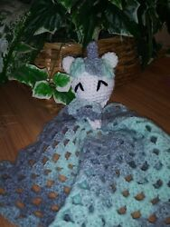 Unicorn Lovey Blanket Security Blanket Baby Shower Gift Mint And Silver
