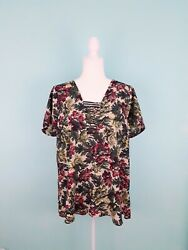 Pleione Floral Tunic High Low NWOT Women's Size Large Short Sleeve Pullover... $14.90