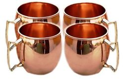 COPPER MUGS 16 OZ CONTAINER MOSCOW MULE MUGS BRASS HANDLE BEAUTIFUL 4 BEER MUGS