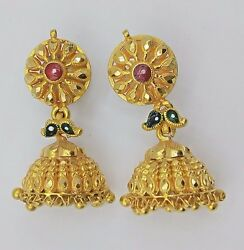 22K YELLOW GOLD ANTIQUE ETHNIC HANDMADE EARRING JHUMAKI PAIR TRIBAL JEWELRY