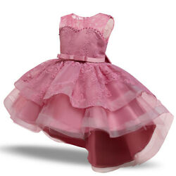 Kids Princess Baby Floral Party Prom Gown Pageant Wedding Flower Girl Pink Dress $12.68