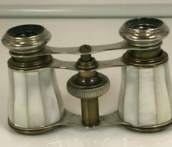 Antique Chevalier Paris Brass and Intact Mother of Pearl Opera Glasses