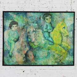 Vintage Impressionist Painting Children on Horseback by Brooks Woollcott $2495.00