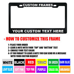 CUSTOM Personalized BLACK metal License Plate Frame Tag Cover Car Auto Shields