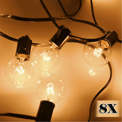 8X G40 Clear Outdoor Patio Garden Globe String Lights Festoon Party 100 Bulbs