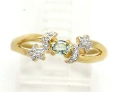 18k Yellow Gold Oval Green Amethyst and Round Diamond Moon & Star Ring .18ct