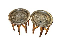 Moroccan silver tray table Moroccan end table Moroccan table Silver end table C $195.00