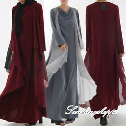 Women Chiffon Long Sleeve Maxi Dress Arab Islamic Ramadan Abaya Kaftan Dubai NEW $47.39
