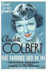 She Married Her Boss - Claudette Colbert - 27 x 41 Lithograph reproduction  #59