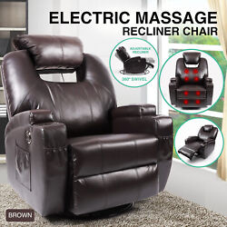 Brown Electric Massage Recliner Sofa Rocker Heated Vibrating Chair Lounge Swivel