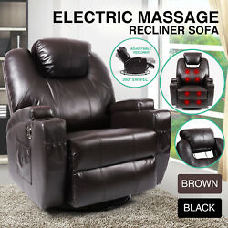 Electric Massage Recliner Sofa Rocker Chairs Lounge Heated Vibration BrownBlack