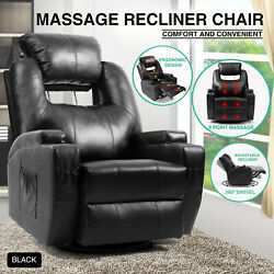 Leather Massage Heated Recliner Sofa Vibrating Chair Lounge 360°Swivel CupHolder