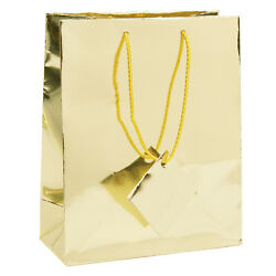 Glossy Paper Metallic Gold Gift Tote Bag Rope Handle 20 Pack 7.75quot; x 4quot; x 9.75quot; $38.99