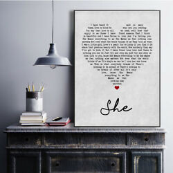 She Grey Heart Song Lyric Quote Print