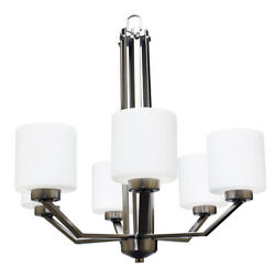Contemporary Brushed Nickel 6 Light Chandelier White Frosted Glass $207.94