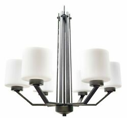 Contemporary Rubbed Bronze 6 Light Chandelier White Frosted Glass $160.99