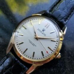 ROLEX Rare Men's 18K Gold 8570 Manual Hand-Wind Dress Watch c.1950s Swiss LV573