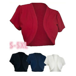 Chic  Women Short Sleeve Cropped Bolero Shrug Lady Cardigan Solid Short Tops Hot