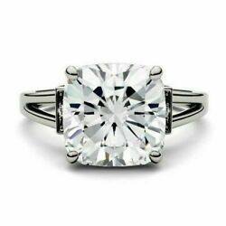 Certified 4.85 Ct White Cushion Diamond Engagement Wedding Ring 14K White Gold