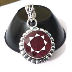 925 Sterling Silver Exclusive 11.60 Gm. Ruby Precious Gemstone Jewelry Pendant
