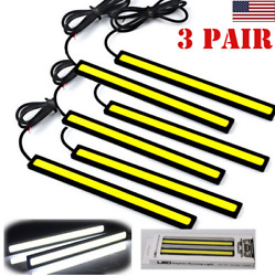 6pcs Auto Driving Light Super Bright 12V LED Strips COB Car DRL Lamp Fog Light