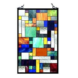 Stained Glass Tiffany Style Window Panel Modern Arts amp; Crafts Design 20quot; x 32quot; $197.60