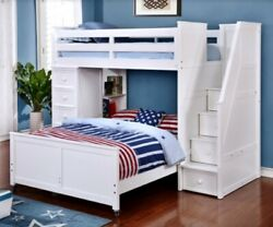 Multifunction Twin or Full Loft Bed with Storage Staircase Chest
