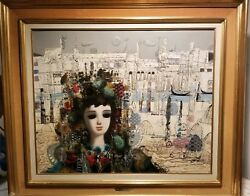 VENETIAN LANDSCAPE W A YOUNG GIRL AUTHENTIC PAINTING FROM ARTIST JEAN CALOGERO