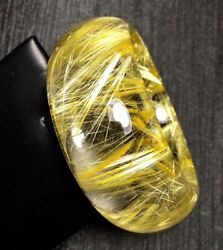 59.5mm  Natural Golden Titanium Gold Rutilated Quartz Crystal Bangle Bracelet
