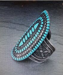 gorgeous enhanced turquoise  wide cuff bracelet Squash Blossom