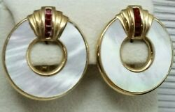 Vintage Butler Open Cut Round Mother of Pearl Red Rhinestone Clip On Earrings